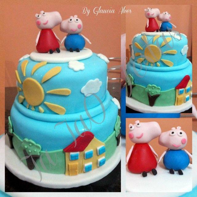 Bolo tema Peppa Pig www.facebook.com.br/iaiaofestas