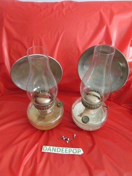 Antique Complete Pair Eagle Wall Mount Kerosene Lamps With Reflectors #Antique #Kerosene #dandeepop #EagleLamp #Lamp #Eagle