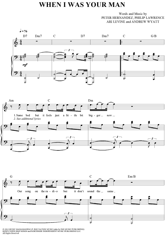 When I Was Your Man Sheet Music By Bruno Mars
