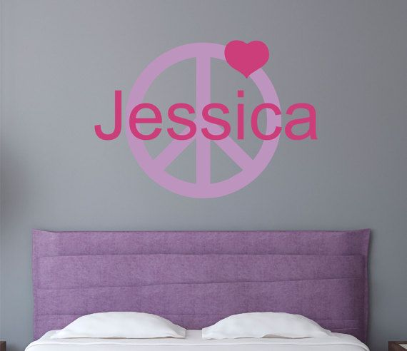Personalized Teen Wall Decal - Monogram Name Decal - Peace Sign ...