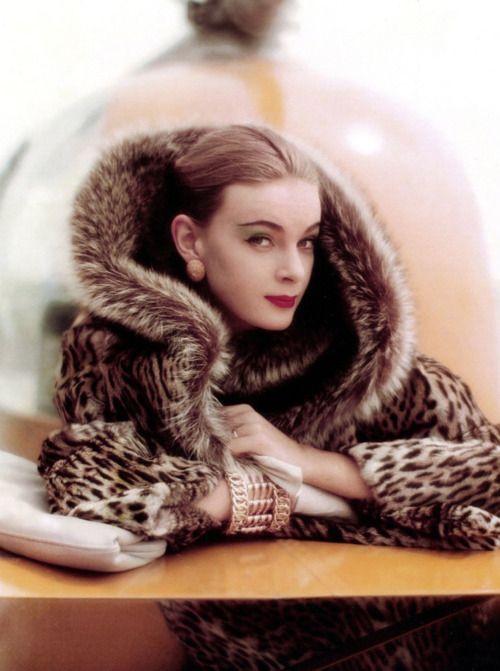 Jean Patchett in a fur coat, 1950s
