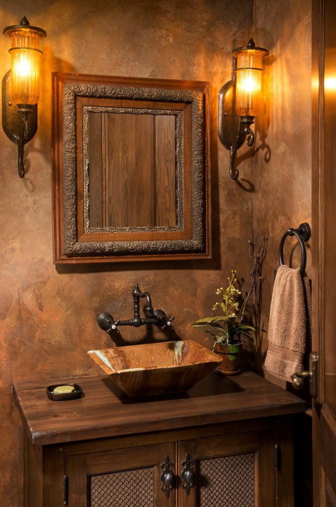 Small Powder Room Sinks Powder Room Traditional with Above Counter ...