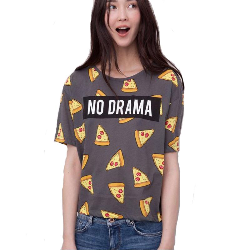 Women Pizza letters print T shirt cute Cake NO DRAMA tops short sleeve  shirts casual camisas
