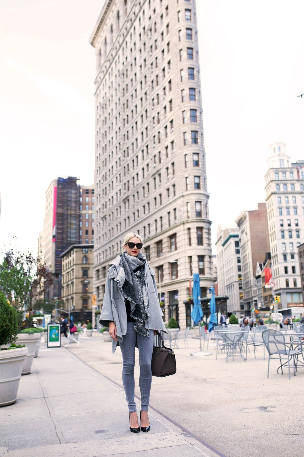 Grey for Days - Blair wearing a DKNY Cape and Longchamp Bag.