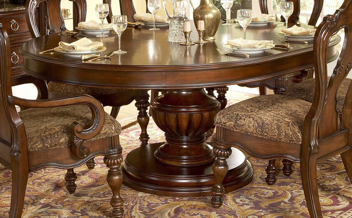 Round Dining Table With Classic Design  Family Room Basement Interesting Oval Dining Room Table Sets Decorating Design