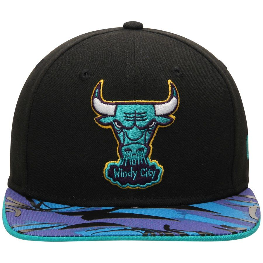 new product 7a140 456e2 Men s Chicago Bulls New Era Black Aqua Hook Vize Original Fit 9FIFTY  Adjustable Hat  Era