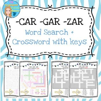 Spanish Preterite Car Gar Zar Word Search And Crossword Wi