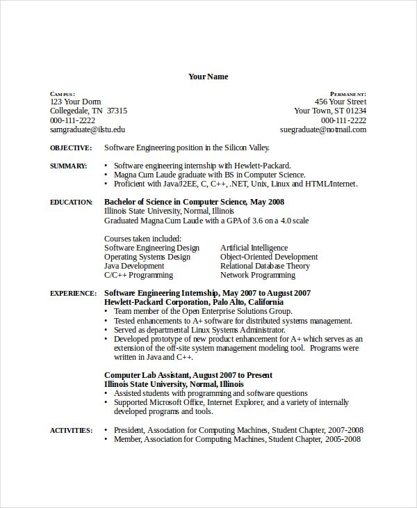 Student Lab Assistant Sample Resume Inspiration Computer Science  Pinterest  Sample Resume Template And Pdf