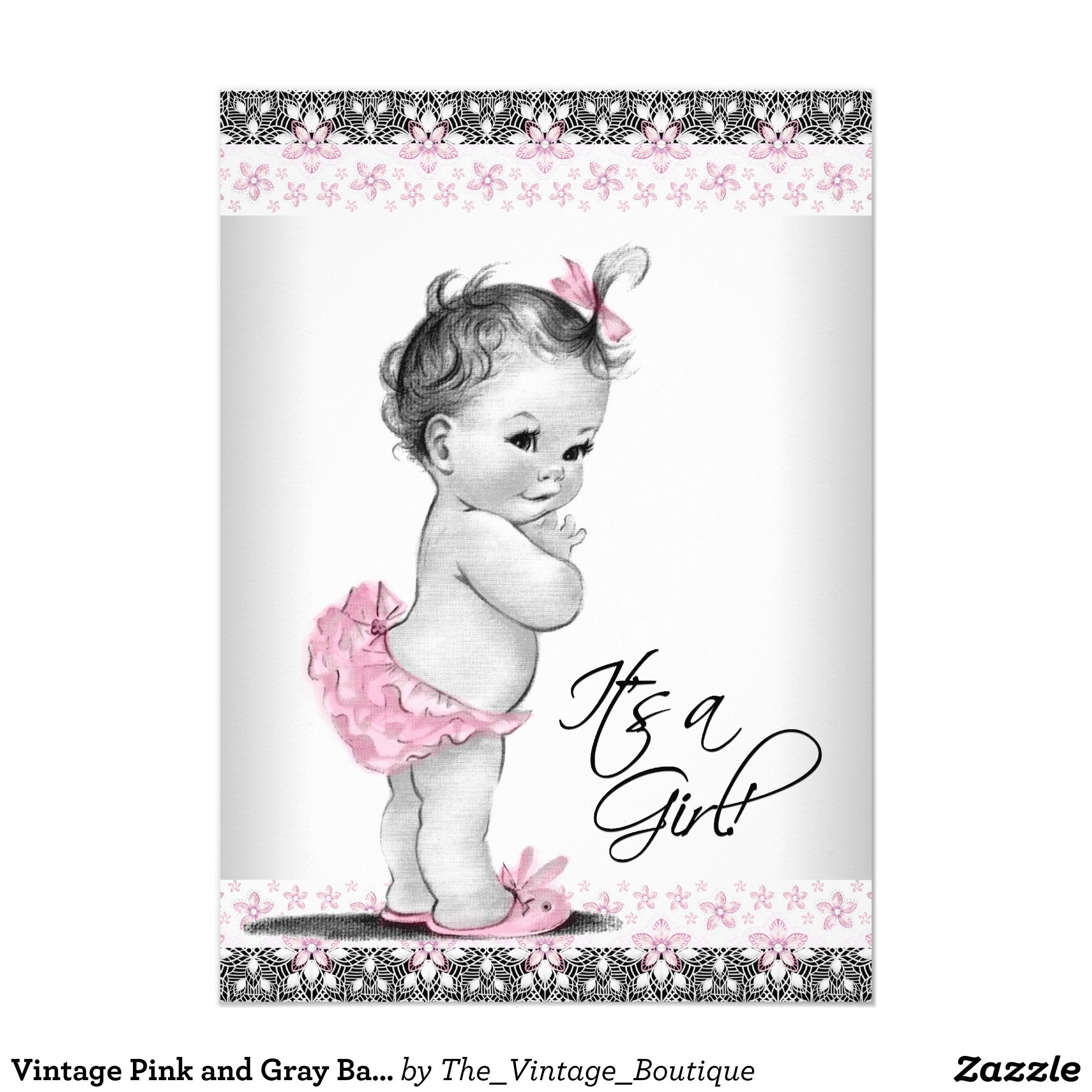 Vintage Pink and Gray Baby Girl Shower Card | Baby girl shower ...