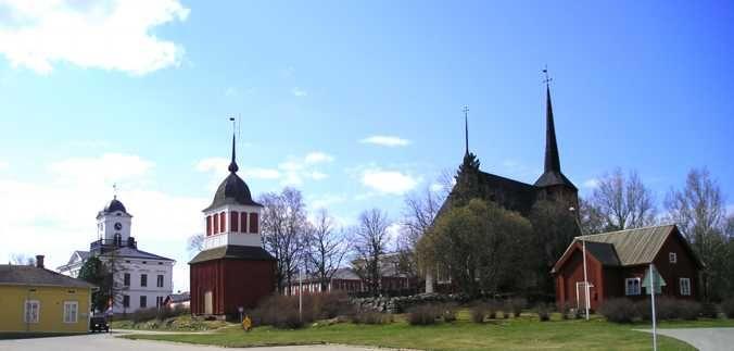 Rectory, Town Hall, Ulrika Eleonora church and a customs house Kristiinankaupunki, Ostrobothnia province of Western Finland.- Pohjanmaa - Österbotten