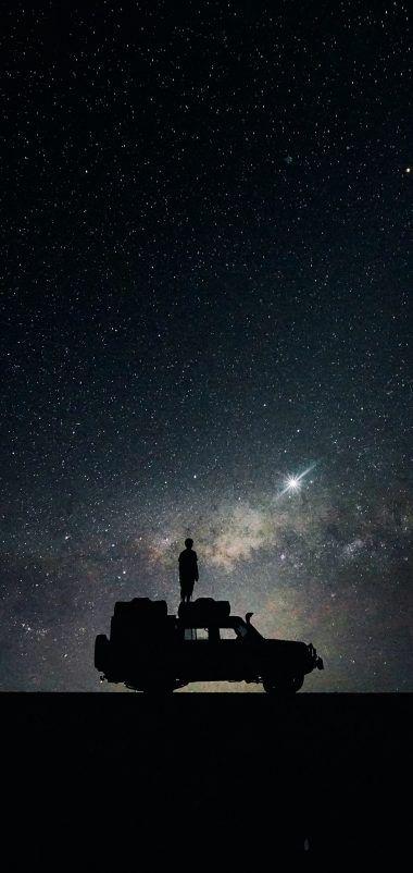 Stars Sky Space Car Wallpaper - [1440x3040]