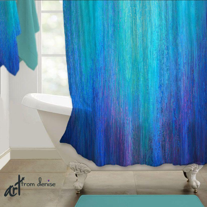Shower Curtain, Abstract Art, Designer Bath, Teal Turquoise Aqua Cobalt Blue  Violet,