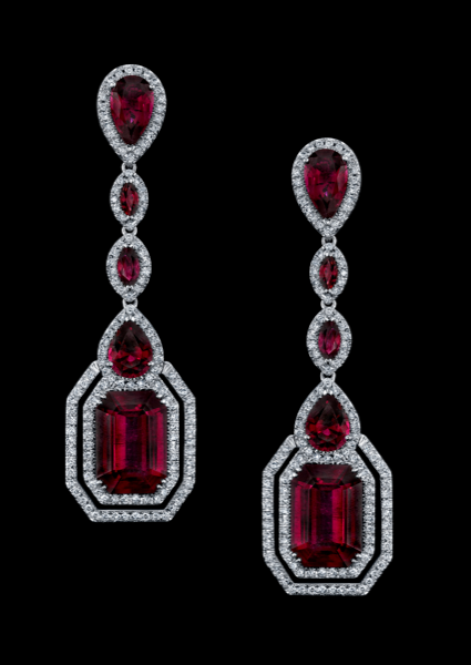 Vibrant Rubellite Earrings Combine The Linear Shapes Of Emerald Cut With Flowing Movements Oval Double Row Brilliant Diamonds On