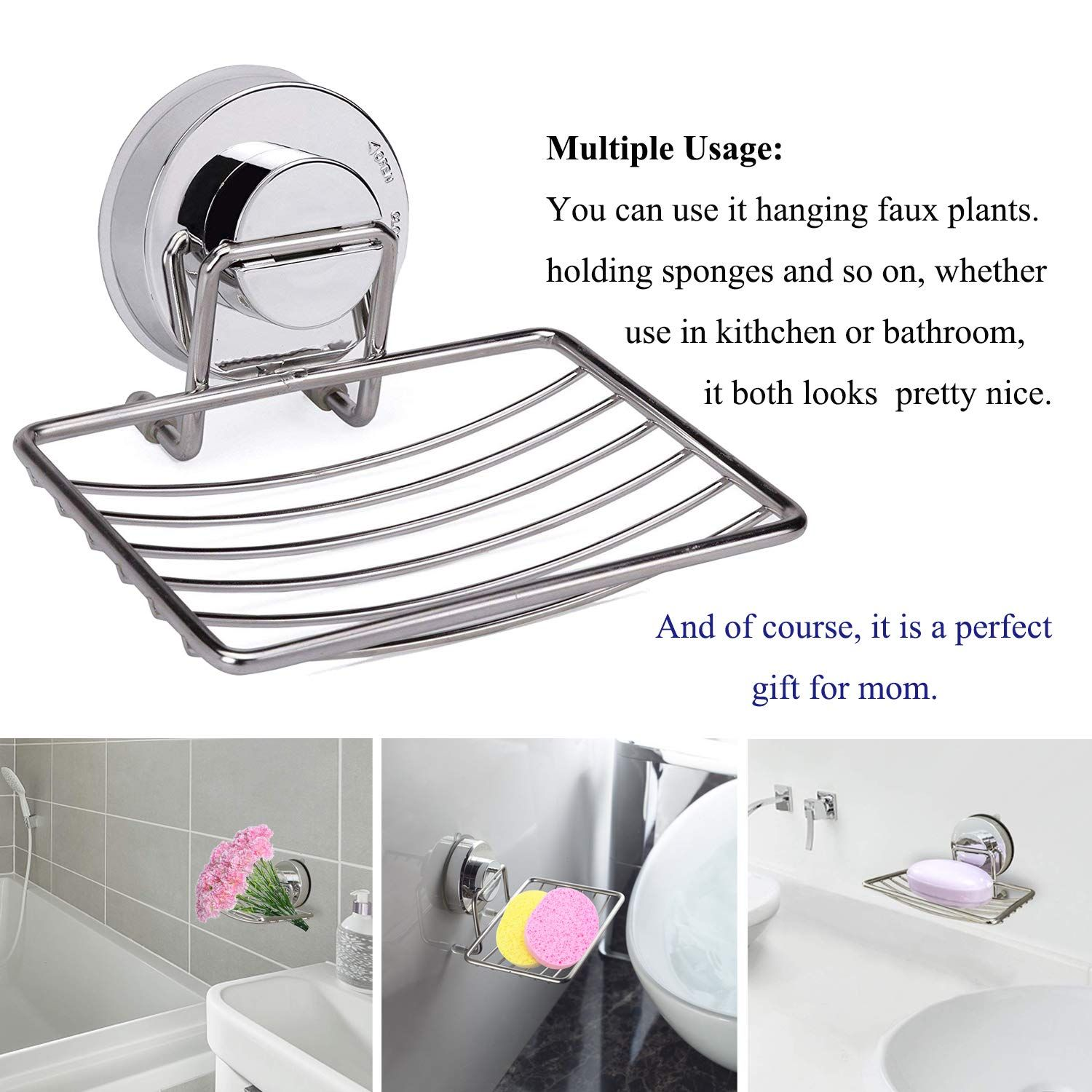 Soap Dish Holder Stainless Steel Soap Basket With Strong Suction Cup Holder For Bathroom Shower Kitchen Sinks 2 Packs In 2020 Suction Cup Holder Bathroom Cups Bathroom