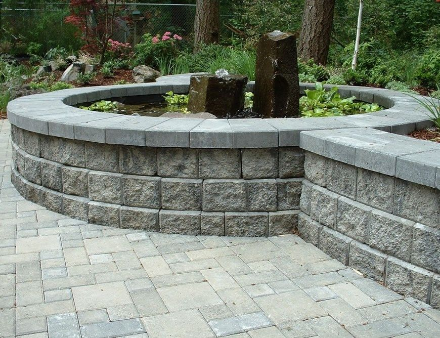 Block Wall Gray Water Feature Pond Woody S Custom Landscaping
