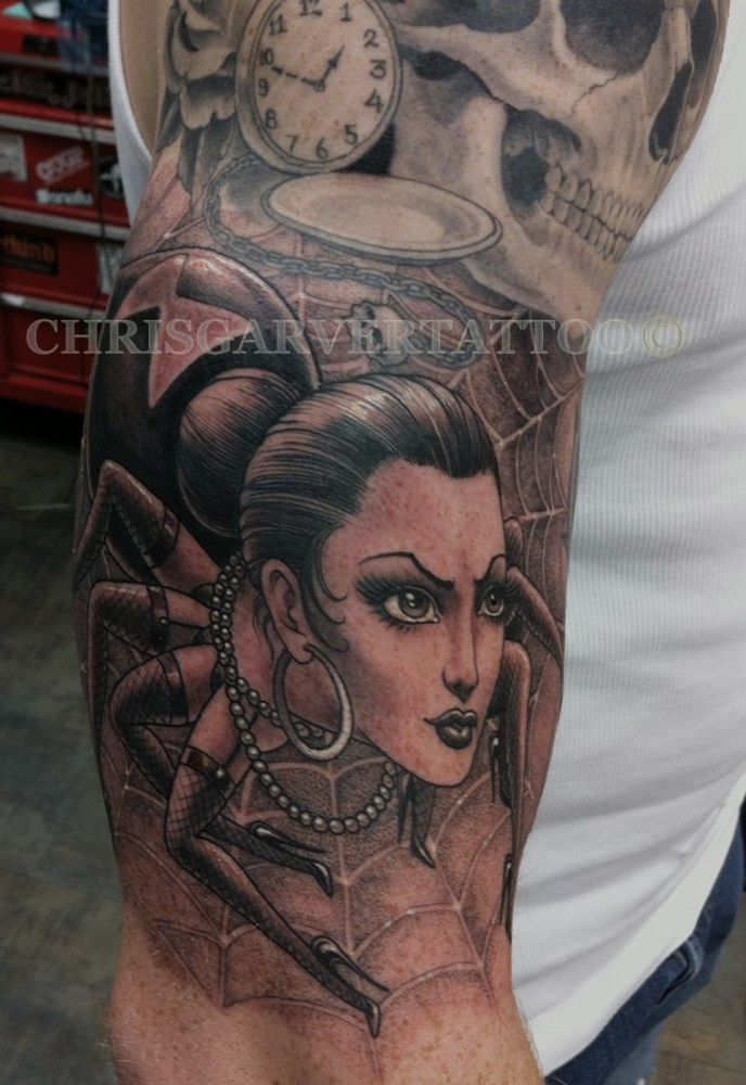 ab4276a62 Black Widow Spider Lady Tattoo by Chris Garver | Tattoos | Tattoos ...