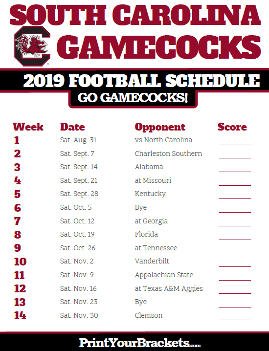 2019 Printable South Carolina Gamecocks Football Schedule Carolina Gamecocks Football Gamecocks Football South Carolina Football