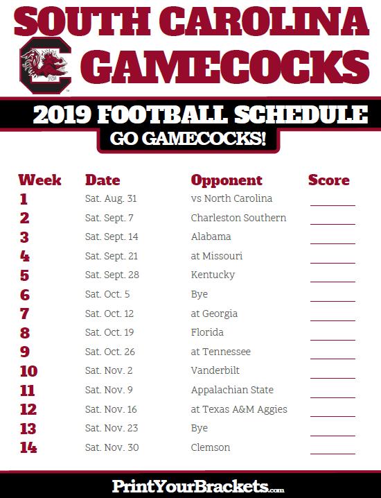 Printable South Carolina Gamecocks Football Schedule
