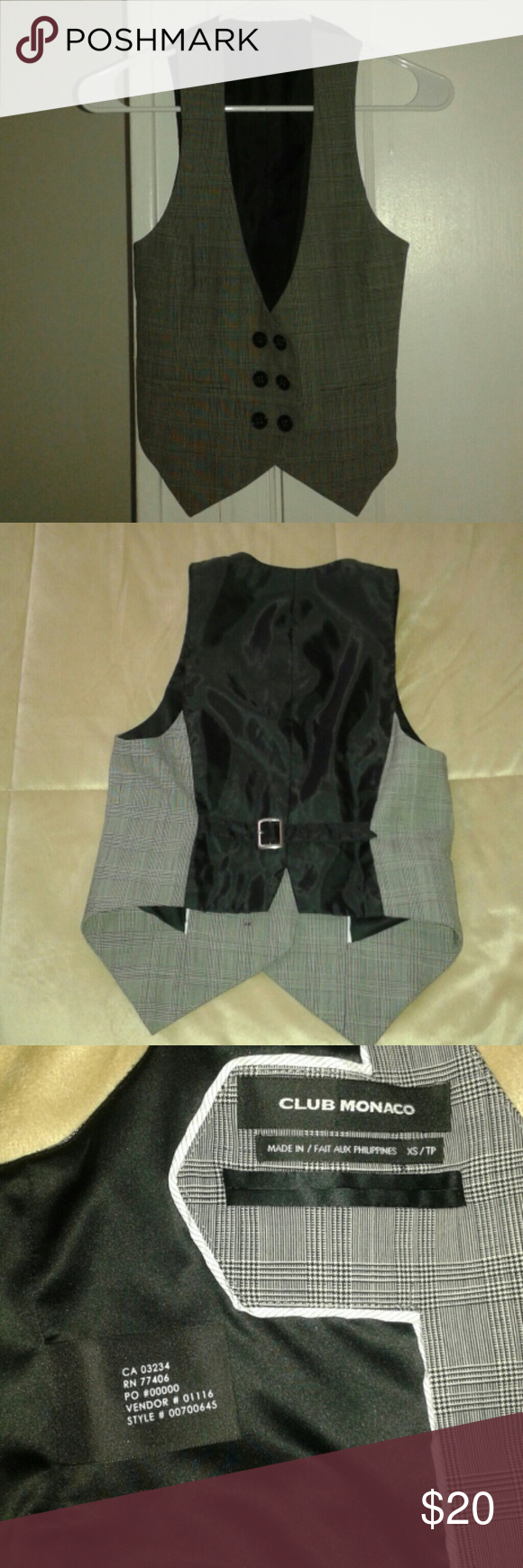 Club Monaco tuxedo vest This listing is for the pictured Club Monaco size extra small tuxedo vest. Shell: 95% wool, 5% spandex. Lining: 100% polyester. Gently used condition. Club Monaco Jackets & Coats Vests