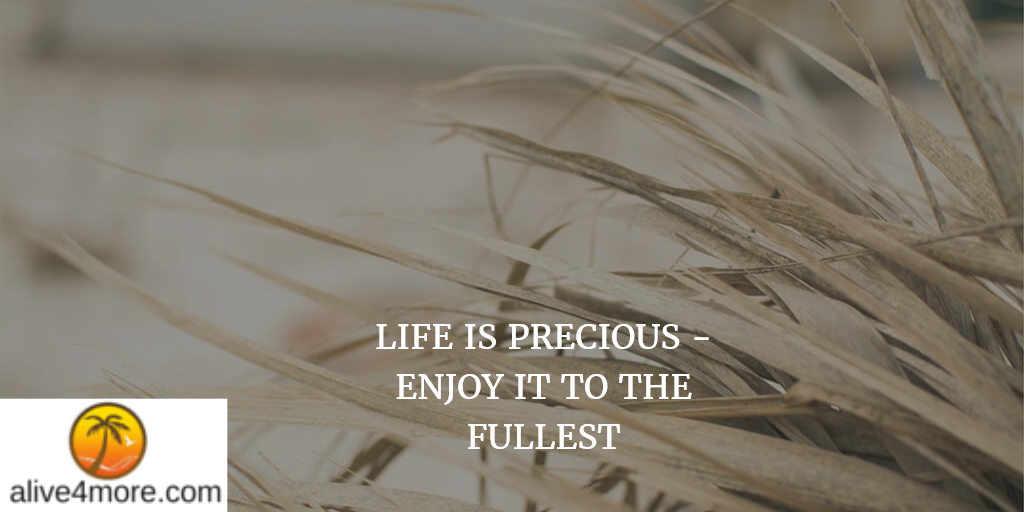 LIFE IS PRECIOUS - ENJOY IT TO THE FULLEST!