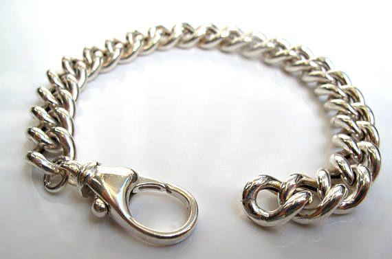 ea79b59490469 Sterling silver gourmet hollow chain link bracelet 925 solid chunky ...