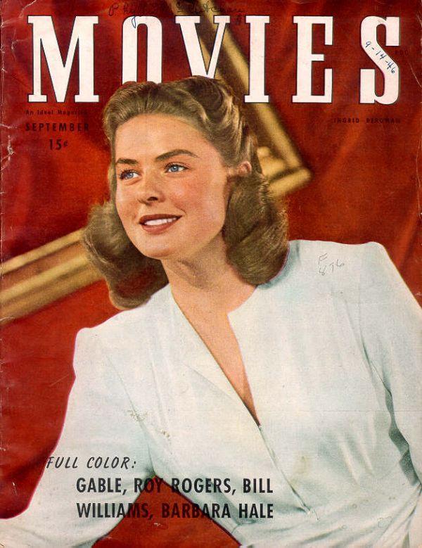 Ingrid Bergman on the cover of Movies magazine, September 1946, USA.
