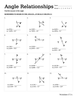Complementary And Supplementary Angles Worksheet Answer ...