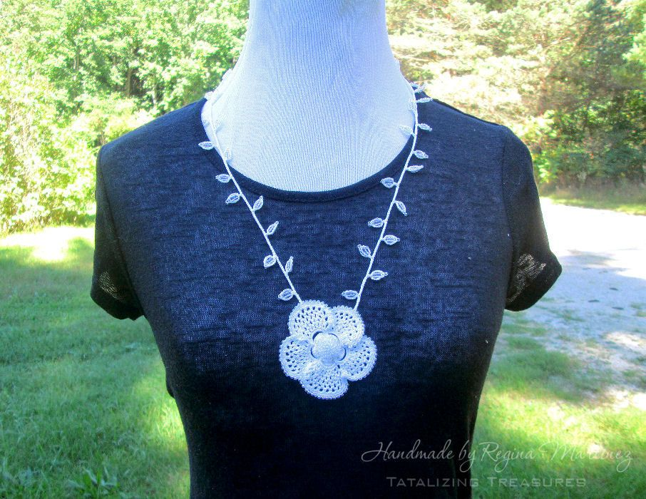 Beaded Irish Crochet Flower with Leaves Beaded Necklace - White, Simple…