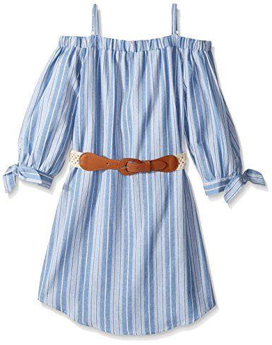Amy Byer Big Girls' Off Shoulder Stripe Dress with Belt, Pat J (Multi), 14