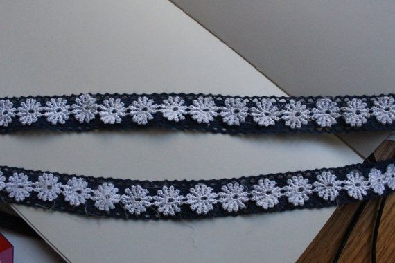 Blue and White Flower Lace Choker