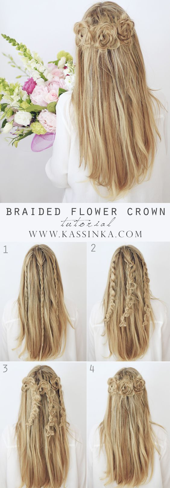 Cute and easy first date hairstyle ideas braid flower flower