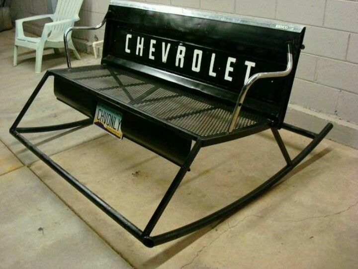 Chevy Tailgate Rocking Chair Yes Please Automotive Furniture Tailgate Bench Welding Projects