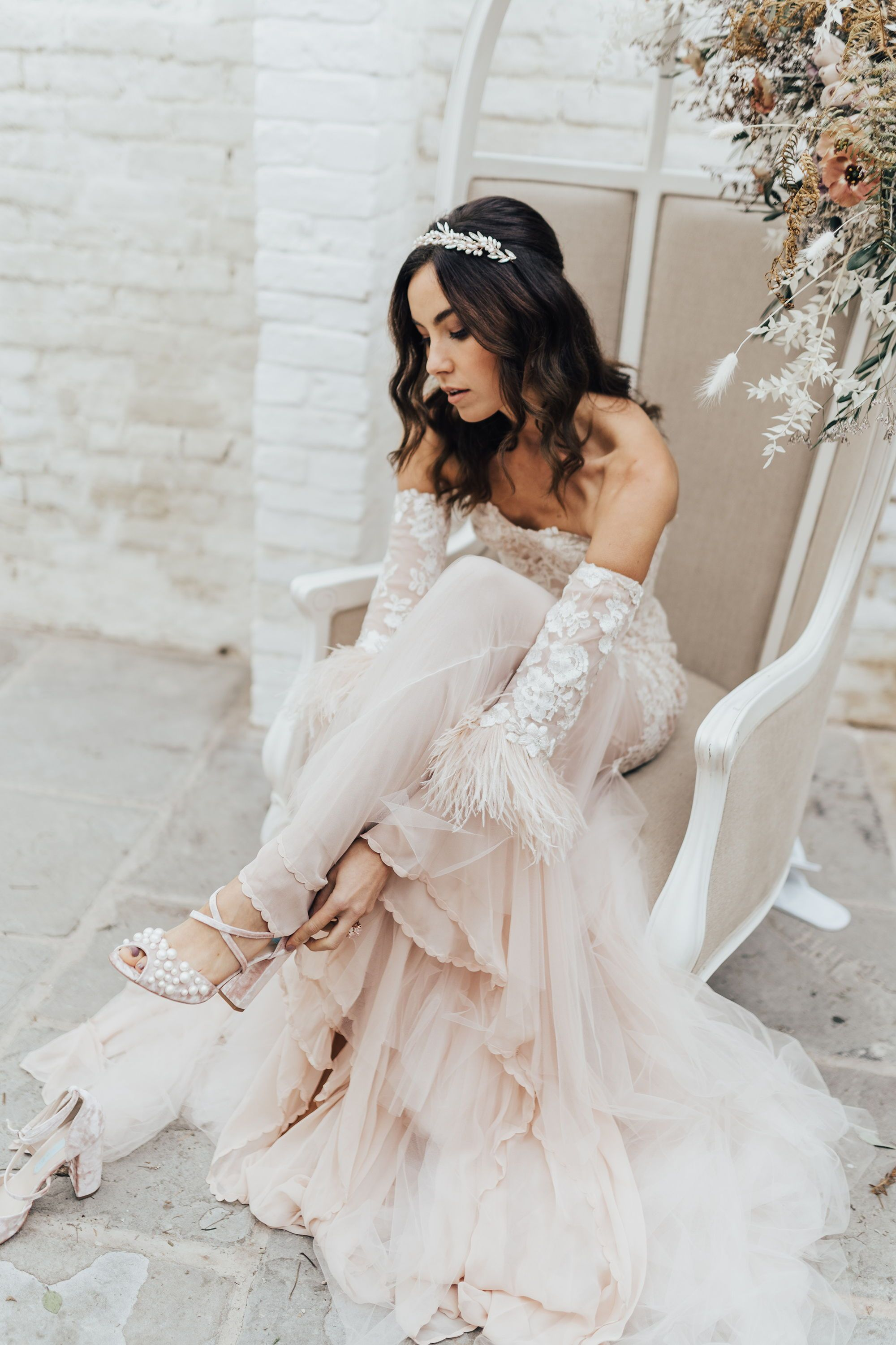 Bride With Pink Tulle Dress With Feathers And Blush Shoes With