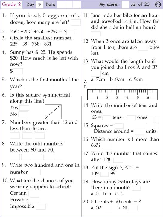 Mental Math Grade 2 Day 9 mental maths worksheets – Math Worksheets for Grade 9