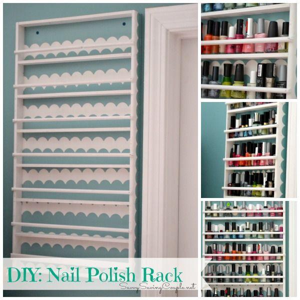 Diy Hanging Nail Polish Holder Featuring Shape Tape Scalloped Designs