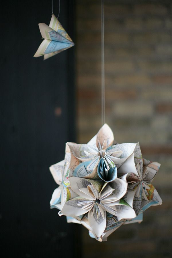 Milwaukee wedding at the wherehouse by tammy horton photography hanging paper flowers pinned the origami single flower how to previously love them in a cluster mightylinksfo