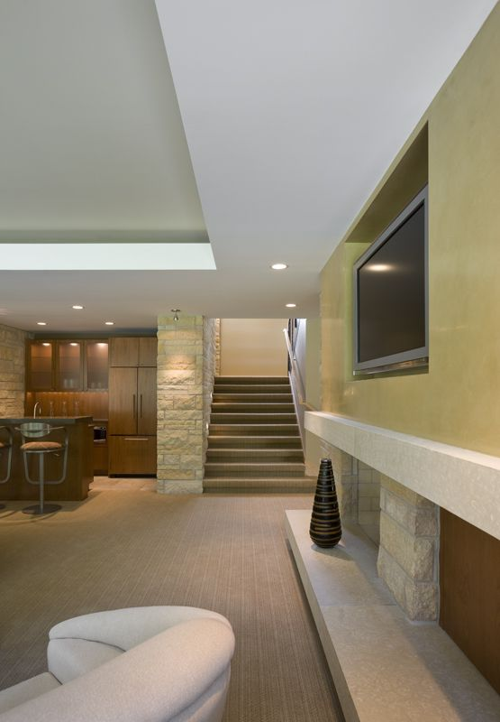 Basement Study Room: Lower Level Charles Stinson Architect Laurie Plattes