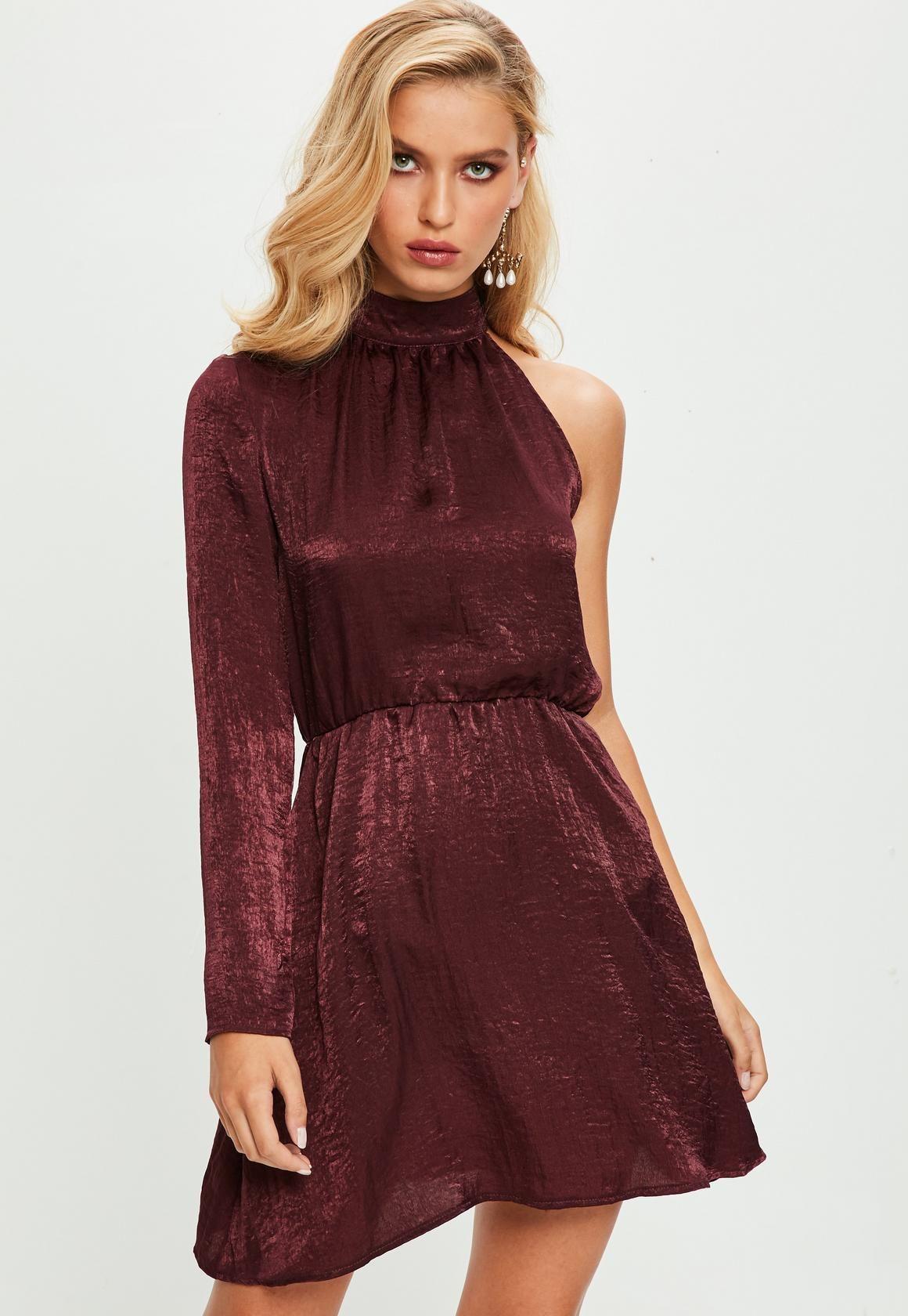 Missguided purple satin shift one sleeve dress purple