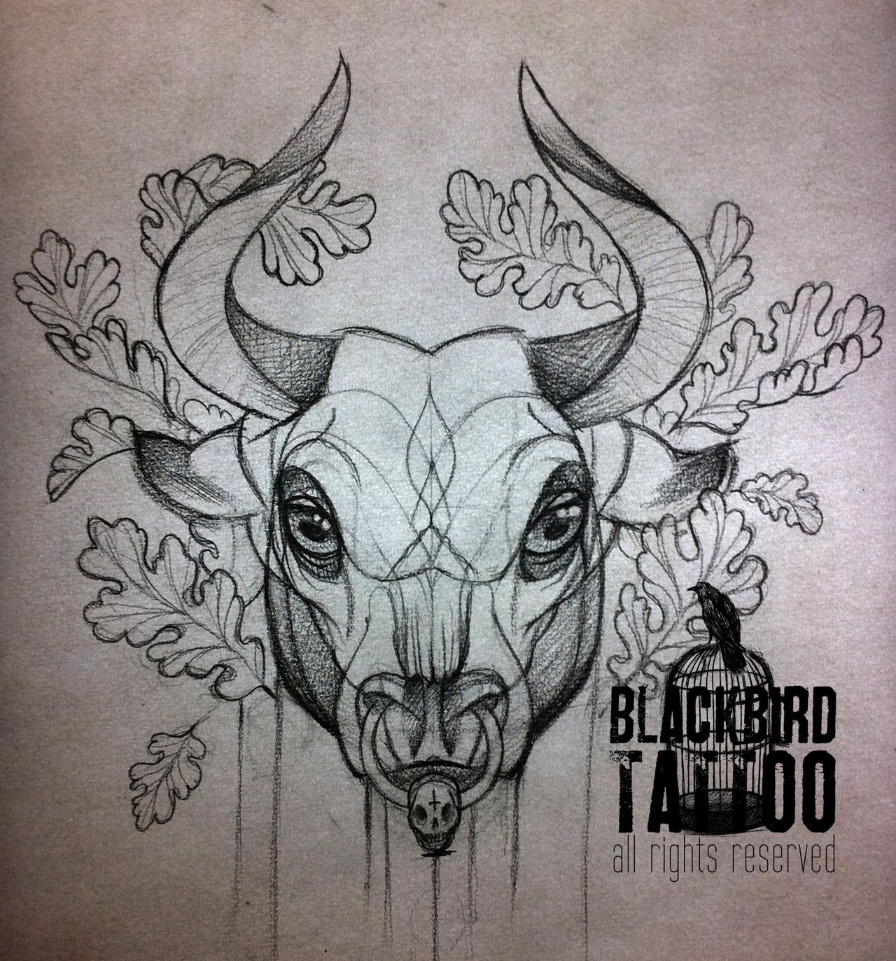 bull tattoo | Tumblr |... Skull And Flower Designs