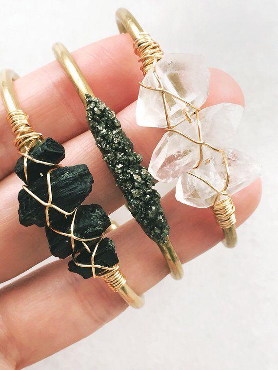 Photo of Raw Black Tourmaline Cuff Bracelet | gold bangle, rough stone, tourmaline jewelry, raw gemstone, black stone jewelry, gift for her, chunky