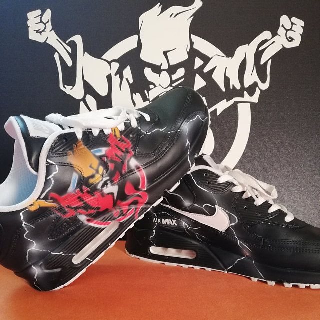 Aangepaste geschilderde Nike Air Max 90 Thunderdome techno