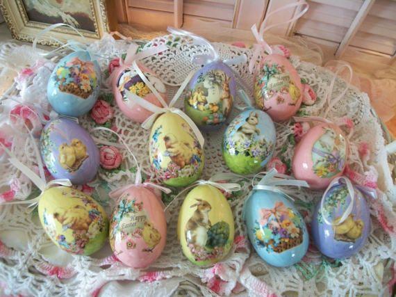 12 Vintage Decoupage Easter Eggs Victorian Scrap By Polkadotrose