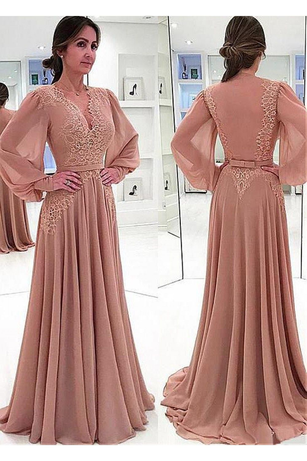 Aline Chiffon VNeck Long Sleeves Lace Mother of The