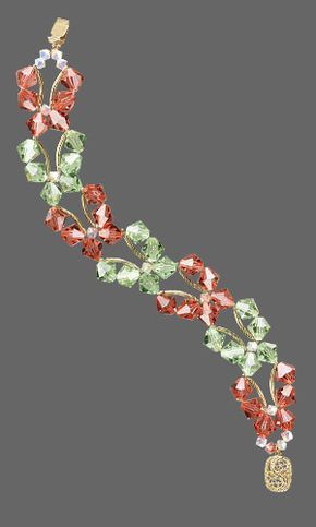 Butterfly Bracelet with SWAROVSKI ELEMENTS. Design copyrighted by Tim Cronkhite, 2009. Design inspired by Dee Dee Simental. FREE Project with Instructions. #jewerlymaking