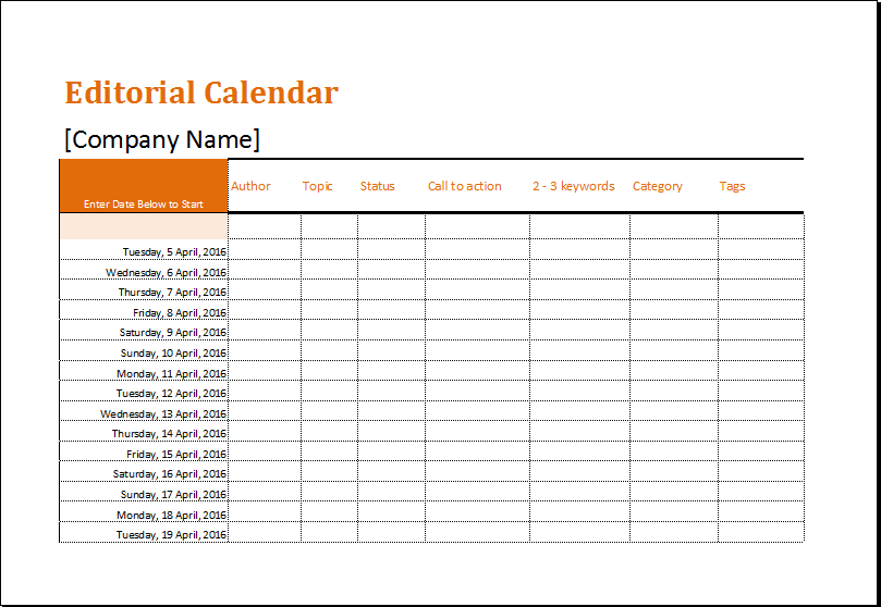 Editorial Calendar Template Download At HttpWwwXltemplatesOrg