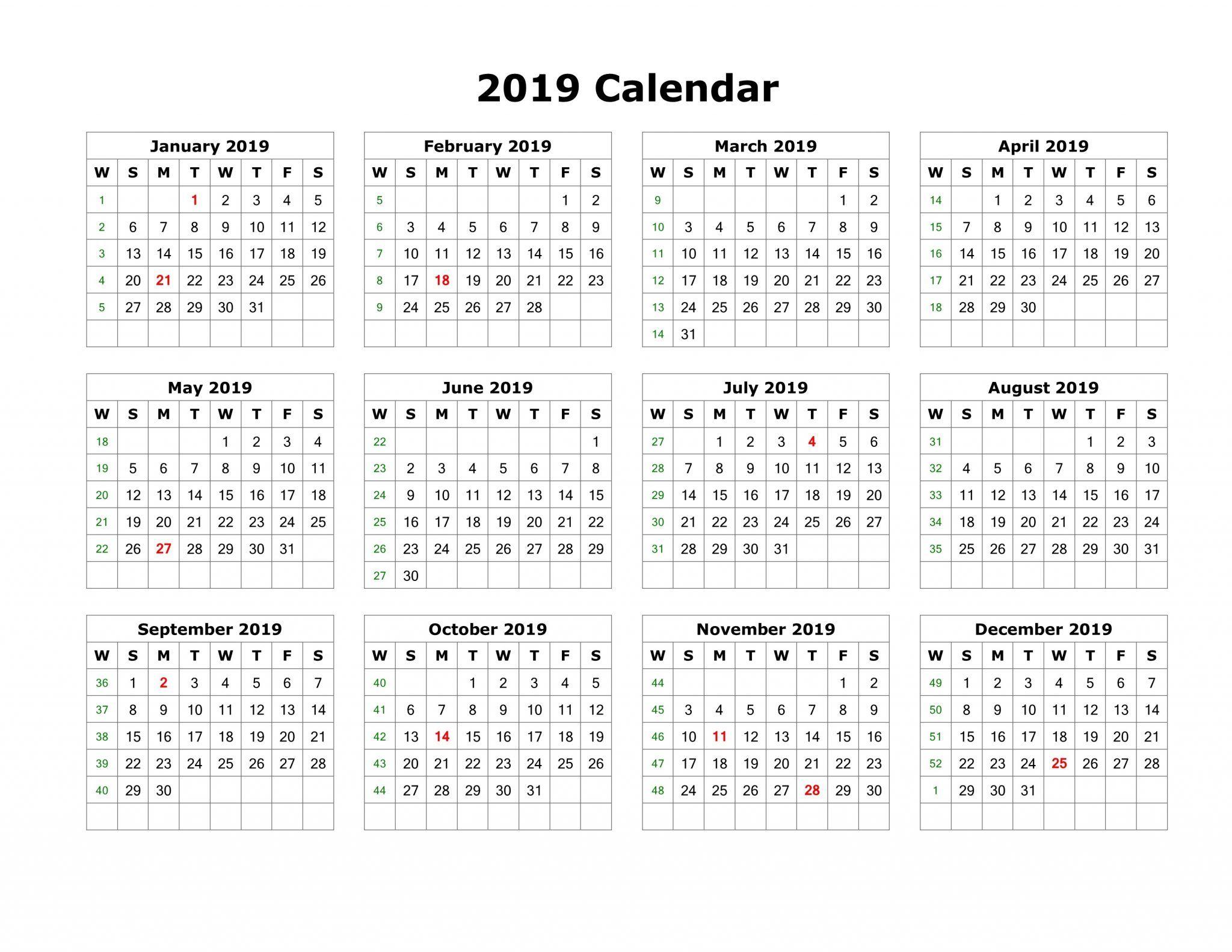 2019 Calendar Template Pdf Word Excel Free Download Printable