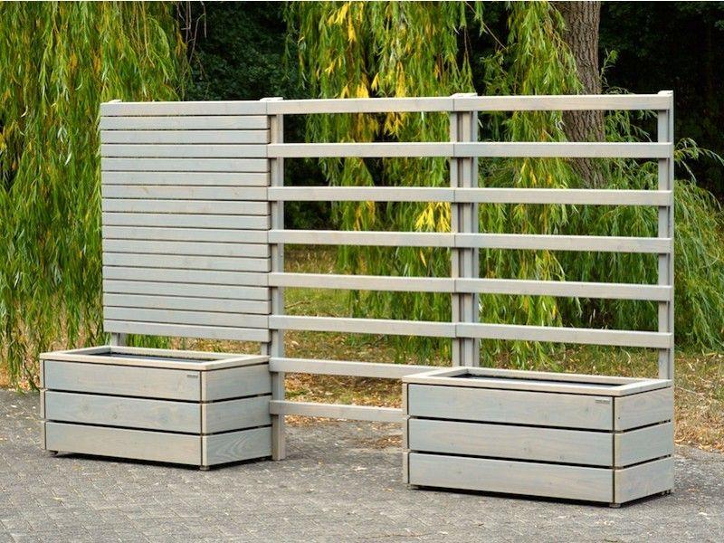 Pflankasten mit Sichtschutz / Rankgitter / Spalier Holz