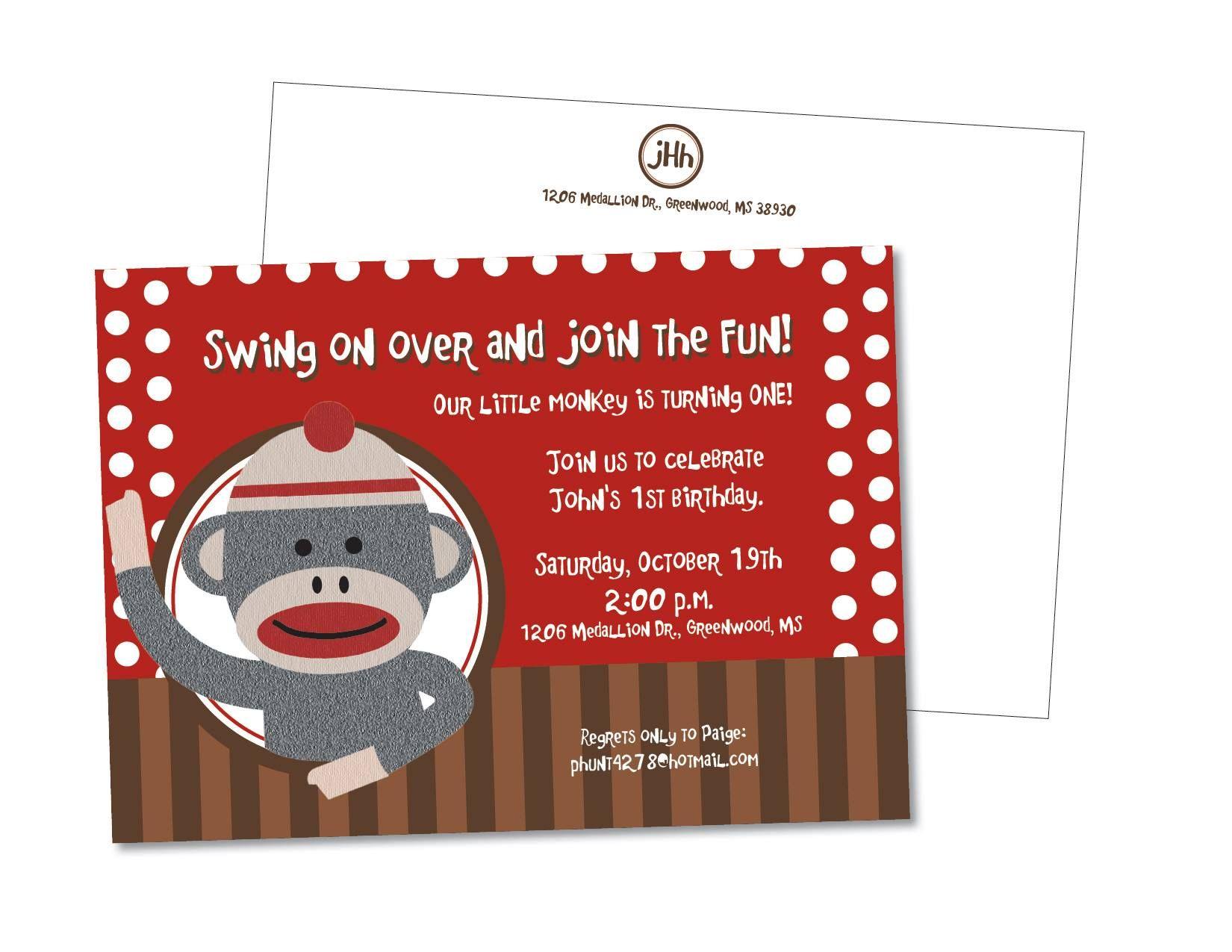 sock money birthday party invitation | Cadens first birthday ...