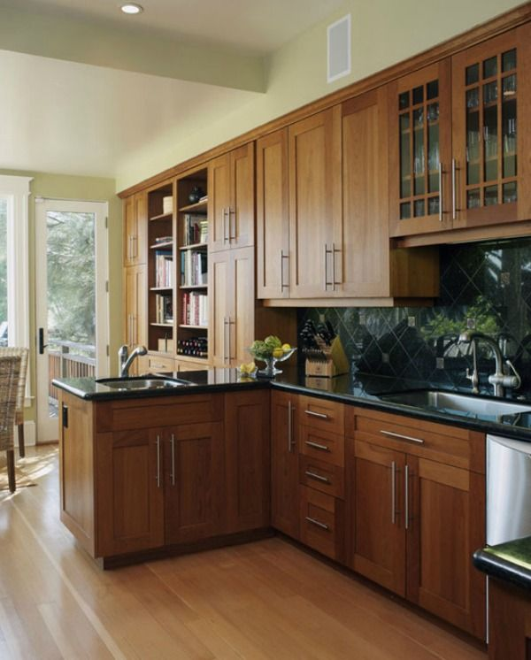 Light Brown Kitchen Cabinets: Cherry Kitchen Cabinets With Gray Wall And Quartz