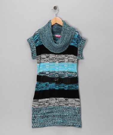 Take a look at this Blue & Black Stripe Marled Sweater Dress - Toddler by Cherry Stix on #zulily today!